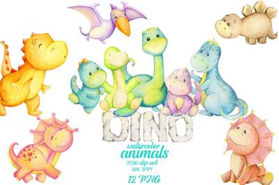 Watercolor dino, Dinosaur party  png, Animal clip art, fairytale anima