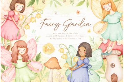 Fairy Garden Watercolor Clip Arts