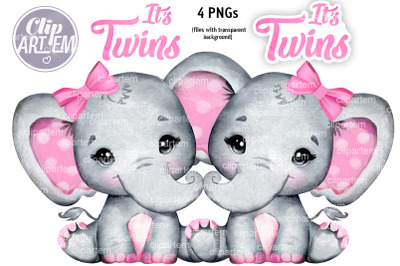 Sweet Twins Girl Elephants Pink Bow 4 Watercolor PNG images