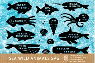 Cute sea animals. Svg, cricut files, paper cut, sublimation