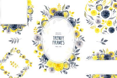 Watercolor yellow&gray trendy frames