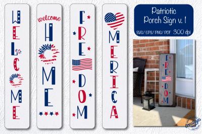 Patriotic porch sign svg, Patriotic svg, Patriotic welcome Heart flag