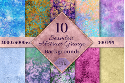 Seamless Abstract Pastel Grunge Backgrounds - 10 Textures
