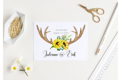 Watercolor Antlers Sunflowers Clipart