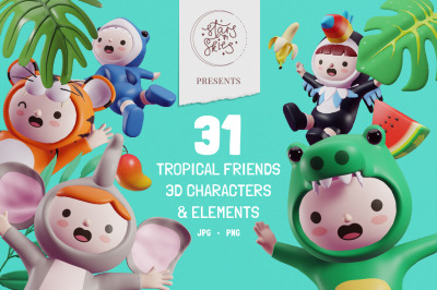 Tropical Friends 3D Characters and Elements