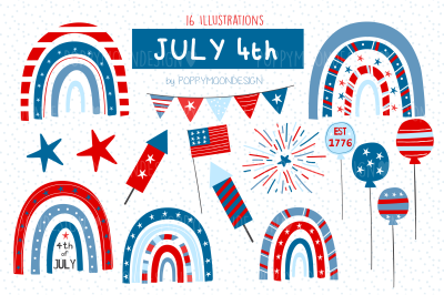 July 4Th clipart set