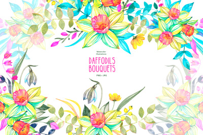 Watercolor Daffodils clipart