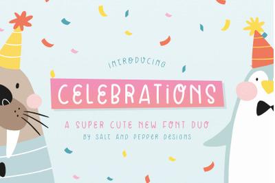 Celebrations Font Duo (Cute Fonts, Craft Fonts, Kids Fonts)