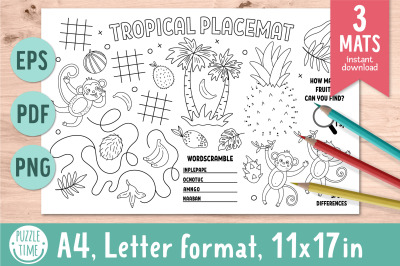 Tropical activity placemats