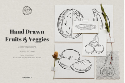 Hand Drawn Fruits and Veggies Vector Illustrations