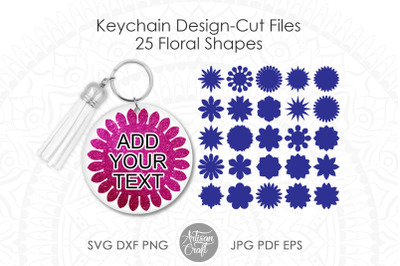 Floral Keychain SVG, floral shapes, keychain background