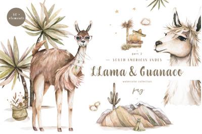 Cute Llama & Guanaco Watercolor Set