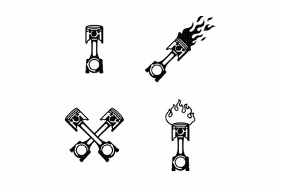 Flaming car piston SVG and PNG clipart