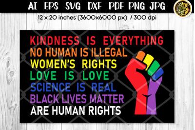 LGBTQ Pride & Rainbow Multi-color Human Rights Phrases SVG Cut Files