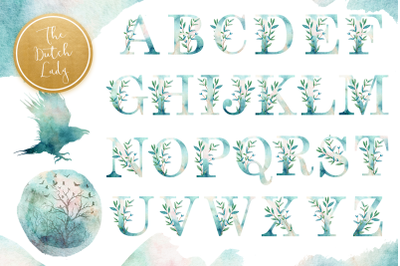 Watercolor Alphabet Cipart with Nature Elements