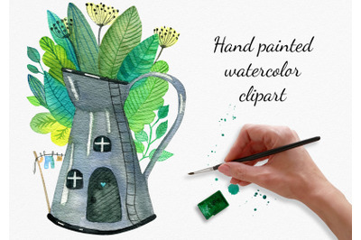 Fairy House Watercolor Clipart