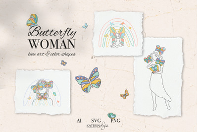 Butterfly woman abstract line art
