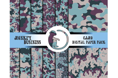 Colorful digital paper pack, Camo print, Seamless patterns, Fabric