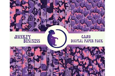 Digital paper pack, Scrapbook papers, Military seamless patterns, Prin
