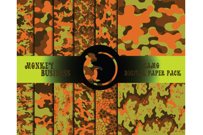 Digital paper pack, Scrapbook papers, Military seamless patterns,