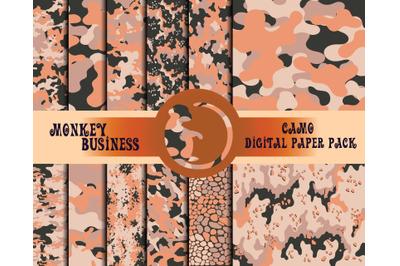 Camo face mask print design, Military digital paper pack