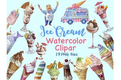 Ice Cream Clipart,Rainbow ice cream,Instant download ,Ice cream truck,