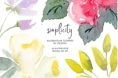 Simple watercolor flowers, wedding clipart