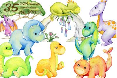 watercolor clipart, dinosaur clipart, animals clip art, cute animal ba