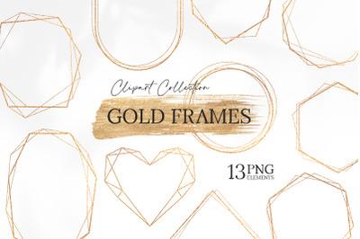 Gold Geometric Frames clipart, Polygonal Glitter Frames