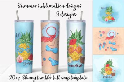 Summer sublimation design. Skinny tumbler wrap design.