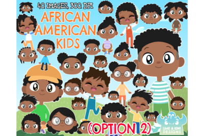 African American Kids (Option 2) Clipart - Lime and Kiwi Designs