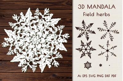 """3D Mandala """"Field herbs""""."""