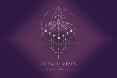 Cosmic Vibes Pre-Made Logo Designs and Branding Kit. Seamless Patterns