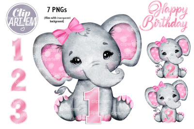Cute  Pink Girl Elephant Birthday 7 PNG Bundle