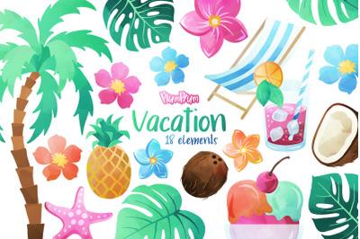 Vacation Watercolor Cliparts