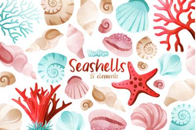 Seashells Watercolor Cliparts