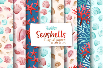 Seashells Digital Papers