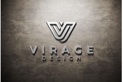 3D Logo Mockup Metallic Textured Logo