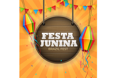 Festa Junina Background with Party Flags, Lantern.