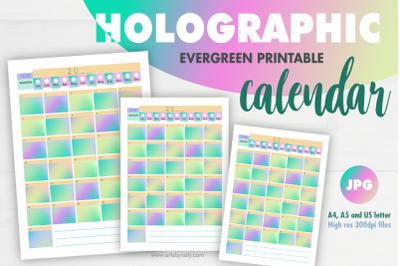 Holographic evergreen printable calendar.