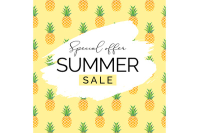 Summer Sale Natural Background with Pineaples