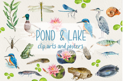 Pond and Lake Clip Arts and Posters
