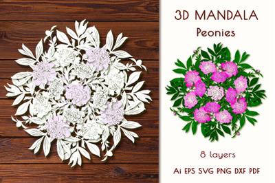 """3D Mandala """"Peonies""""."""