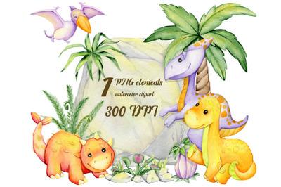 Watercolor dinosaurios, Animal clip art, Dinosaur party, fairy scrapbo