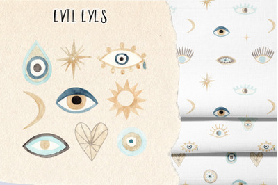 """Watercolor evil eye - """"Nazar"""". Collection Patterns and Cliparts"""