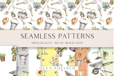 Watercolor garden digital paper, Gardening seamless pattern for fabric
