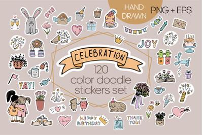 Celebration color stickers set