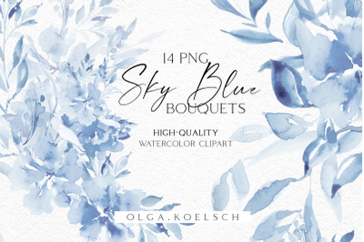 Watercolor boho boho roses clipart, Dusty blue florals clip art