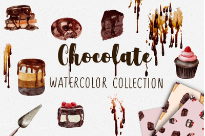 Watercolor Chocolate Set. Chocolate cakes collection.