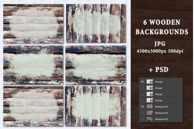 Frame on wood texture.